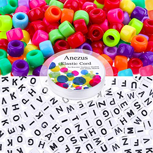 Pony Beads for Bracelets, Anezus 1300pcs Beads for Kids Including 1000pcs Plastic Pony Beads, 300pcs Letter Beads and A Roll of Elastic String for Bracelets, Necklace and Jewelry Making