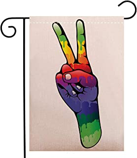 Creative Home Garden Flag Groovy Decorations Hand Peace and Love Sign in Rainbow Colors Internationally Recognized Garden Flag Waterproof for Party Holiday Home Garden Decor, Polyester 12 x 18 inch