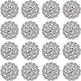 Hicarer Rhinestone Embellishments Flatback Silver Rhinestone Jewelry Flower Crystal Button Accessory for DIY Jewelry Making Wedding Decoration Bridal Bouquet Invitations (40 Packs)