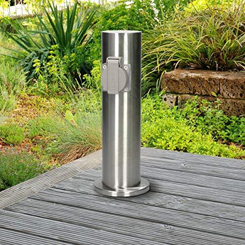 ECD Germany Steckdosensäule 2-fach Steckdosen - aus Edelstahl - spritzwassergeschützt IP44 - Außenbereich - Außensteckdose Gartensteckdose Energiesäule Mehrfachsteckdose Stromversorgung Stromverteiler