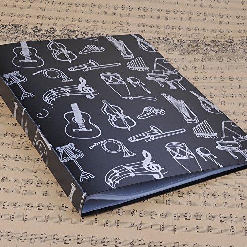 Punk - Carpeta archivadora tamaño A4 para informes, partituras y recortes, color Music Instrument Black negro