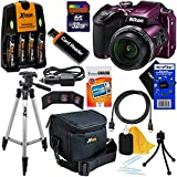 HeroFiber Nikon COOLPIX B500 Wi-Fi, NFC Digital Camera w/40x Zoom & HD Video (Plum) - International Version (No Warranty) + 4 AA Batteries with Charger + 10pc 32GB DLX Accessory Kit w Cleaning Cloth