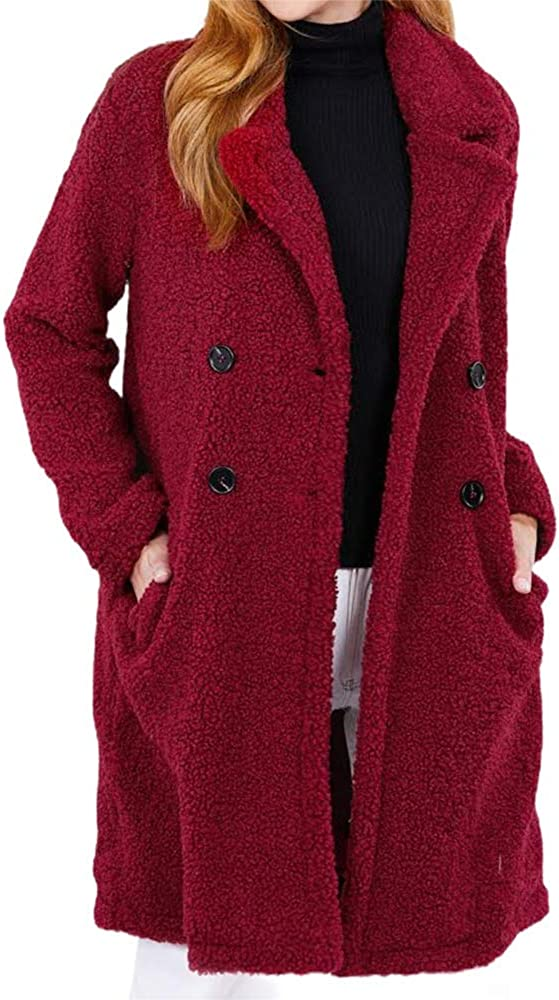 Long Sleeve Faux Fur Fuzzy Teddy Double Breasted Lapel Long Coat Warm Outwear Jacket with Pockets