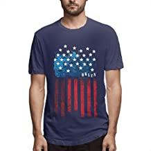 NICOLE Men's Print Sweaty New York Flag America Typography Short Sleeve New T-Shirt Black