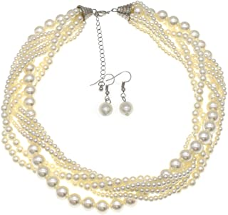 MeliMe Faux Big White Red Pearl Choker Necklaces Flapper Beads Wedding Jewelry for Women Mother