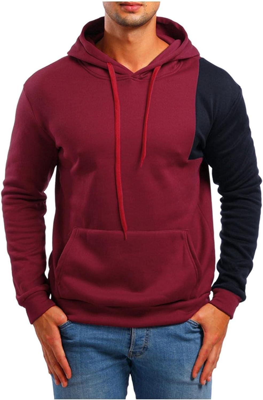 LEIYAN Mens Slim Fit Hoodie Pullover Casual Long Sleeve Graphic Color Block Fleece Sweatshirt Pullover