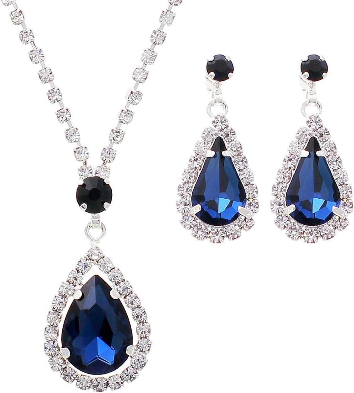Rosemarie Collections Women's Rhinestone Teardrop Fashion Jewelry Set