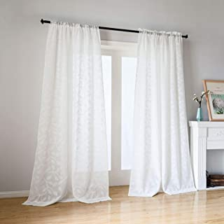 """Taisier Home Sheer Curtain Panels Home Fashion Window Rod Pocket/Grommet to Curtains Sheer Short Window Curtain Panels for Girls Room/Kids (Set of 2 Panels,52 by 63 84 95 52""""×95"""" White YMTS005-BL1"""