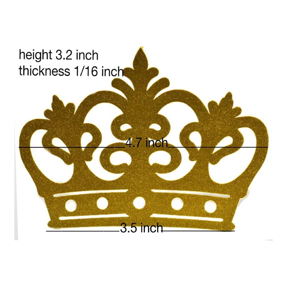 Small Glitter Crown Decoration, EVA Foam, 10 Pieces High Quality (Gold)
