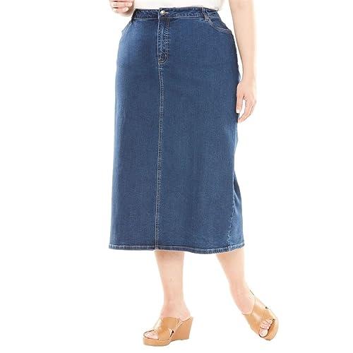 e69dc1a0876f4 Jessica London Women s Plus Size True Fit Denim Maxi Skirt