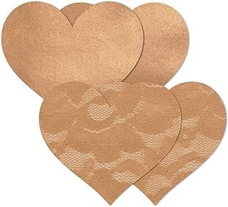 Nippies Tan Caramel Hearts Waterproof Adhesive Fabric Nipple Cover (C)