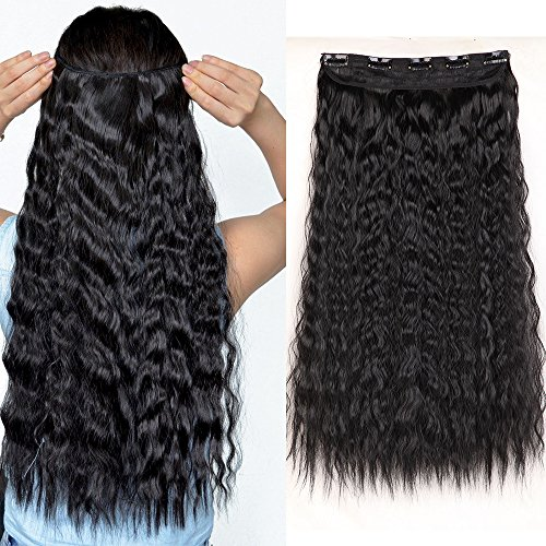 Haarverlängerung Clip in Extensions 1 Tresse 5 Clips Haarteil Corn Wavy Haarverdichtung Synthetische Haare wie Echthaar Gewellt Schwarz 10 inch/25.5 cm-120 g