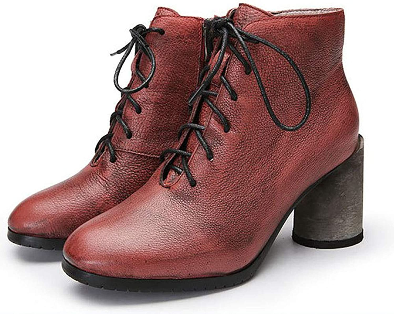 AW-YTXYDY Women's Retro Fashion Martin Boots, Cowhide Material, Work Shopping Travel, Wear Slip Resistant (35-40 Yards) (color   RED, Size   35)