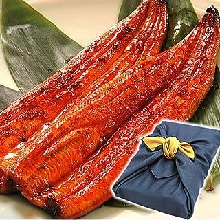 国産うなぎ お中元 ギフト 鰻(うなぎ)の特大長蒲焼き ギフトセット 風呂敷包み (2本 紺風呂敷)