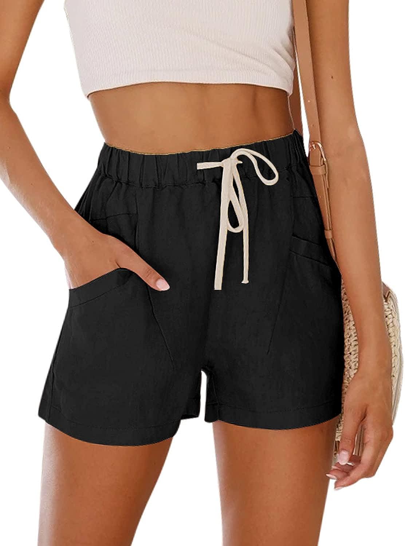 NIMIN Women's Teen Girls Cotton Comfy Drawstring Casual Elastic Waist Summer Beach Shorts with Pockets