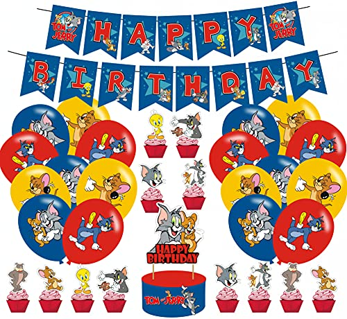 Tom and Jerry Party Supplies for Birthday Party Tom and Jerry Theme Happy Birthday Banner Cake Topper Latex Balloons for The Tom and Jerry Party Favors Boys and girls Gamer Birthday Party Decorations