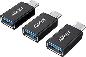 AUKEY Adaptador USB C a USB 3.0 (3 Pack) con OTG para MacBook Pro 2017/2016, ChromeBook Pixel, Nokia N1, OnePlus 2 y Otros Dispositivos con USB C (Negro)