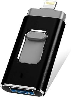 AVEDISTANTE Flash Drive para iPhone y Android, 4 en 1 USB de Almacenamiento Externo para Tenefono Movil y Computadora, Memoria para iPhone/Android/iPad/Ordenador - Negro 32 GB