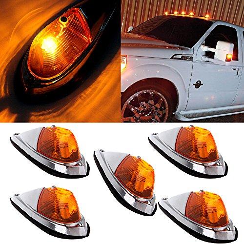 cciyu Truck Trailer Waterproof Semi-trailer Smoke Cab Marker Roof Top Clearance Light Replacement (Pack of 5pcs) (Amber Lens Amber Light)