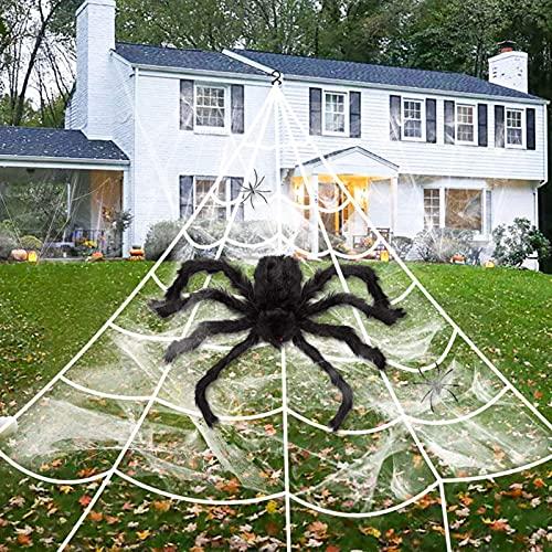 Halloween Spinnennetz Spinngewebe Dekoration Set,5m * 4.8m Super Stretch Cobweb,Halloween Outdoor Yard Dekor,Triangle Spinne Web für Geister-Party im Freien,Halloween Party Gartendekoration
