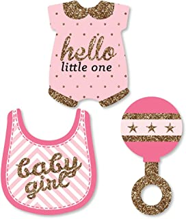 Big Dot of Happiness Hello Little One - Pink and Gold - DIY Shaped Girl Baby Shower Party Cut-Outs - 24 Count