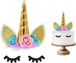 Decoración de unicornio para tartas de cumpleañosJuego decorativo que incluye cuerno, orejas y pestañas de unicornio.Decoración de unicornio para fiesta del bebé, boda y cumpleaños. (Dorado)