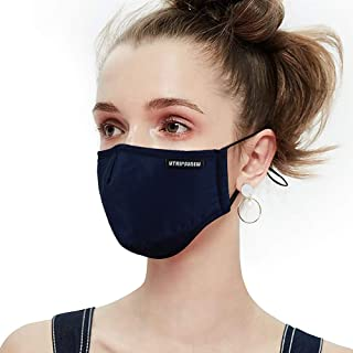 Anti Pollution Dust Mask Washable and Reusable PM2.5 Cotton Face Mouth Mask Protection from Flu Germ Pollen Allergy Respirator Mask (Navy Blue)