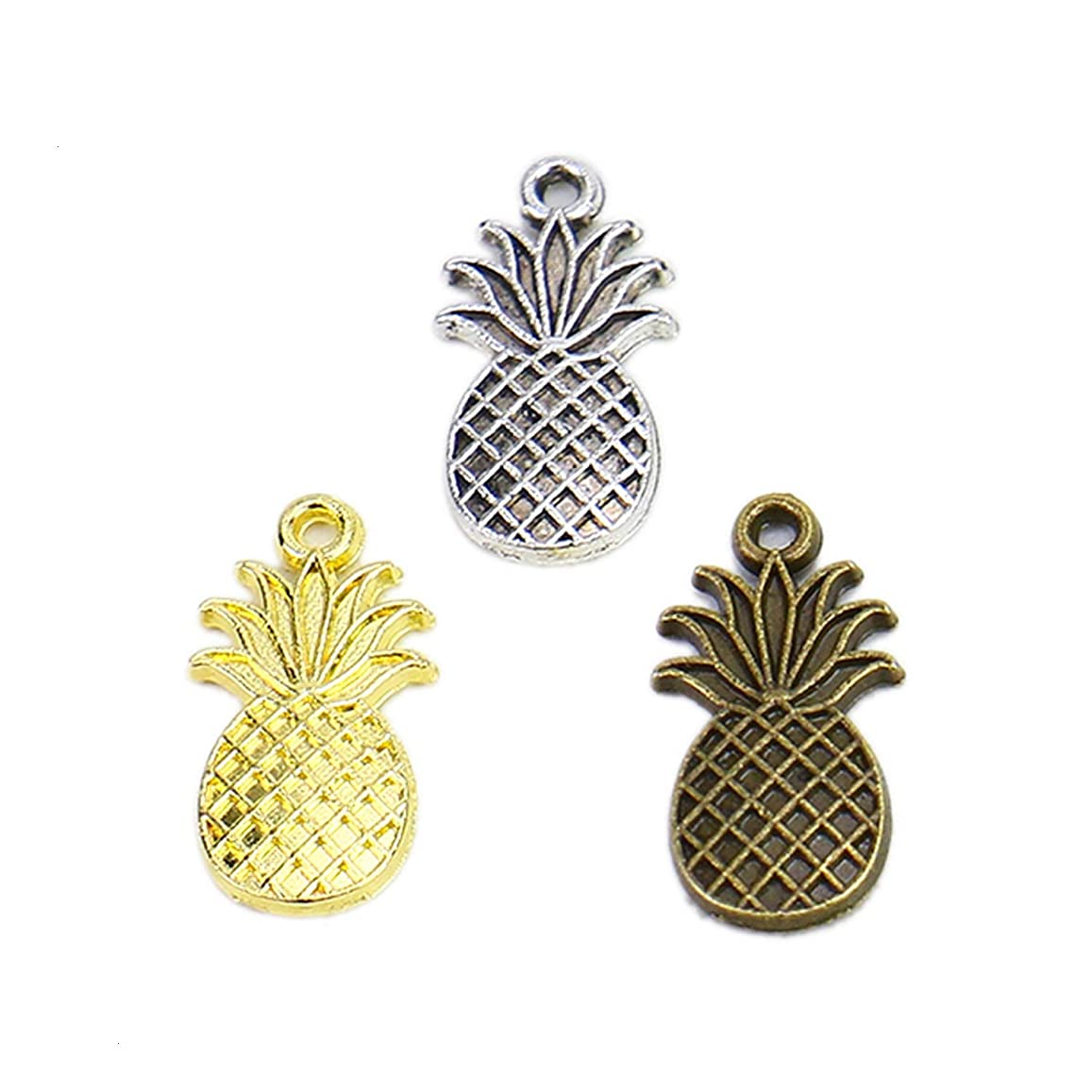 Monrocco 120Pcs 3 Color Pineapple Charms Pendant,Alloy Fruit Charms Pendant for Jewelry Making and Crafting