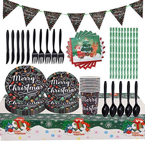 Juego de Cubiertos Desechables para fiestas de Navidad, 92 Piezas Plato de Navidad para Fiestas Incluye Pancarta Platos Cubiertos Servilletas Mantel Cucharas (10 invitados)
