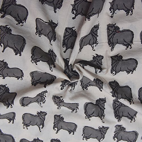 Shopolics White and Gray Animals Design Block Print Cotton Fabric-14156 For Wedding, Festival, Party Wear (2.5 Yard)