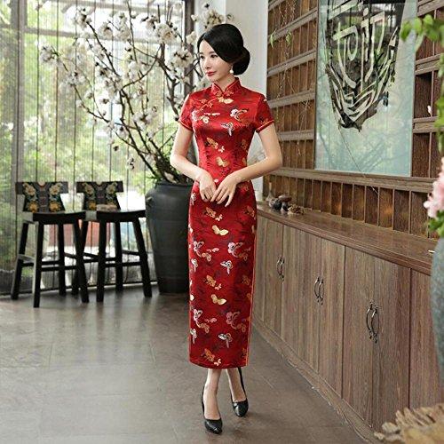 TTDRESS TTDRESSWomen's Long Dress Langes chinesisches Hochzeitskleid der Frauen Cheongsam Qipao Retro Langer Blumendruck, red, XL