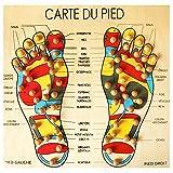 Tabla de madera con mapa del pie, masaje reflexología/acupresión