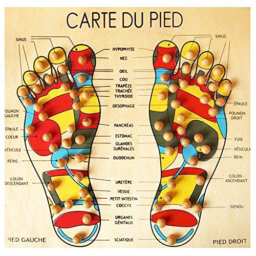 Houten plank voetkaart massage reflexologie/acupressuur