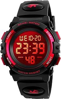 Kid Watch Sport LED Alarm Stopwatch Digital Child Quartz Wristwatch for Boy Girl red