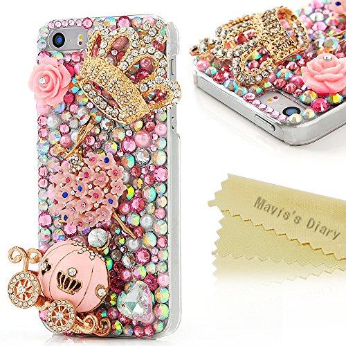 Mavis's Diary - Cover rigida in policarbonato per iPhone 4/5/5C/6/6 Plus, Samsung Galaxy S6,S6 Edge, S5 (i9600), con strass in rilievo e carrozza di zucca di Cenerentola e corona, trasparente, iPhone 5