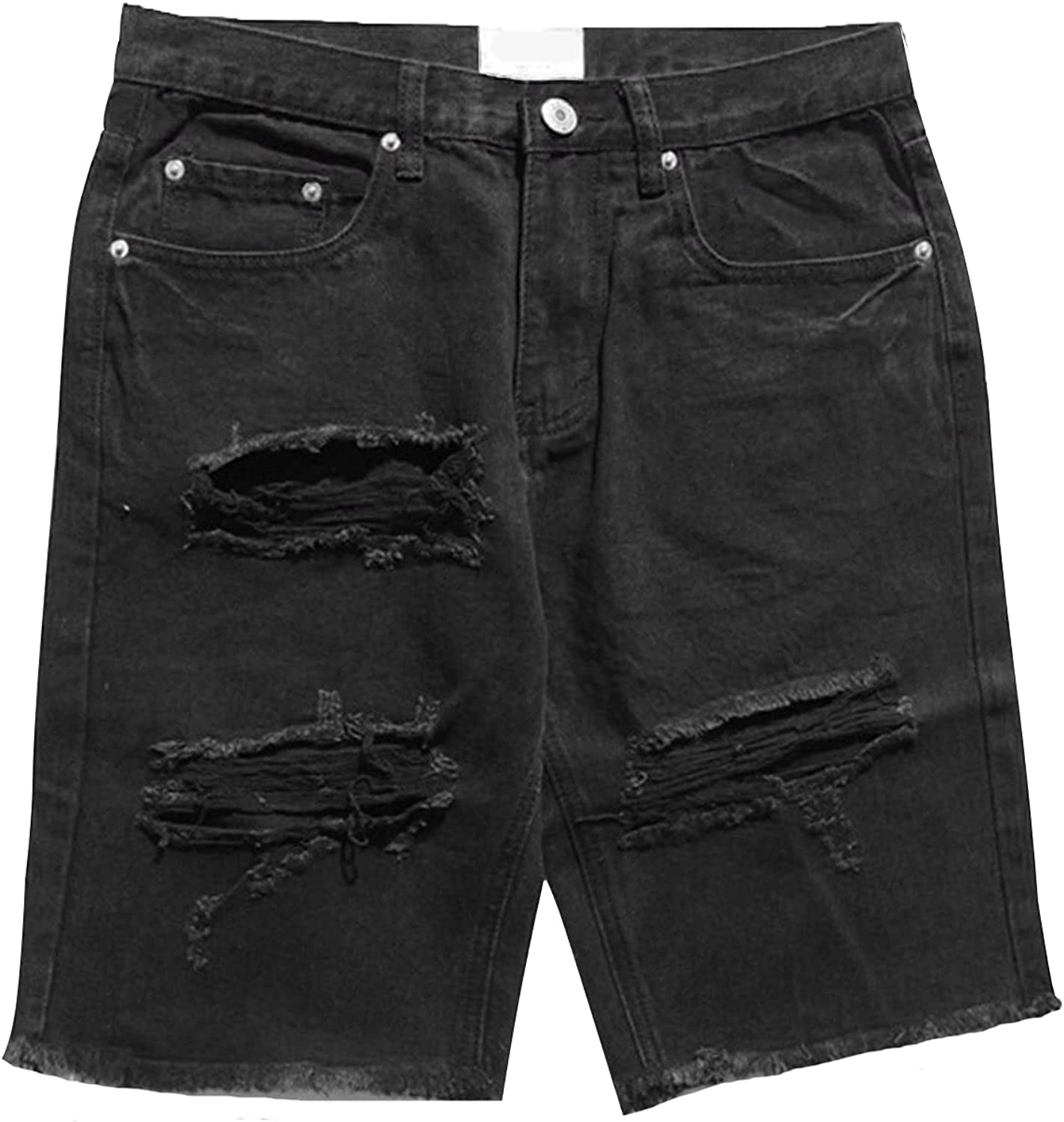 Men's Street Style Jean Shorts Distressed Classic Fit Frayed Short Jean Pants Fashion Ripped Knee Lenght Half Jeans
