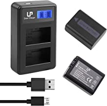 LP NP-FW50 Battery (2-Pack)& LCD Dual Charger for Sony A6000, A6300, A6400, A6500, A7, A7II, A7R, A7RII, A55, A5100, RX10 &More