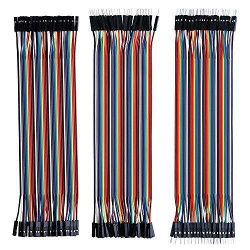 Elegoo 120pcs Câbles DuPont 3 en 1 Multicolore Fil Dupont Wire (20 cm), Nappe de 40pcs Mâle-Femelle, Nappe de 40pcs Mâle-Mâle, Nappe de 40pcs Femelle-Femelle, Nappes Sécables, Pour Plaque d'essai, Platine de Test, pour Arduino UNO MEGA 2560 NANO