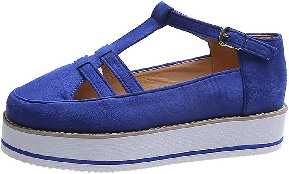 Vimisaoi Platform Sneakers for Women, Low Top Ankle Strap Wedge Fashion Sneakers Casual Walking Shoes Loafers Blue