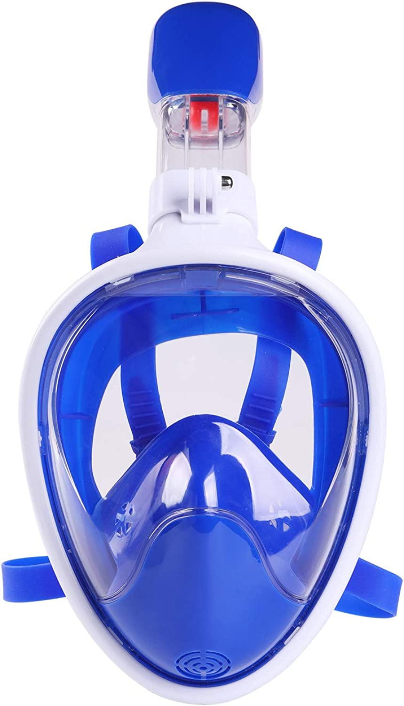 GuangDu  Face Snorkeling Mask, 180 Panoramic Scuba Diving Mask Camera Mount for Adults & Kids, Easy Breath, AntiFog AntiLeak Snorkeling Gear for Free Diving Swimming