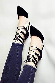 Büyük Numara Bilek Bağcıklı Siyah Stiletto Topuklu Ayakkabı