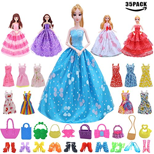 Sawaruita 35 Pack Doll Clothes Accessary Suit, 15 Pcs Party Gown Outfits with 10 Piece Doll Handbags and 10 Pairs Shoes, Great Gift for Girl's Birthday and Christmas
