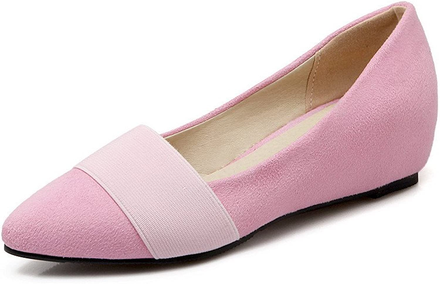 AllhqFashion Women's Solid Frosted Kitten-Heels Pull-on Pointed Closed Toe Pumps-shoes