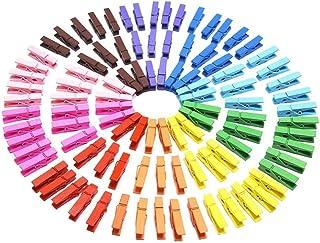 Mini Pinces à Linge en Bois colorées 100 pièces Mini piquets en Bois 3,5cm Petites Pinces à Linge de décopince Bois pour P...
