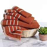 Luxury Cotton Towel Set - Rice Weave 100% Egyptian Cotton 6 Piece Set with 2 Bath Towels, 2 Hand Towels and 2 Washcloths - Orange