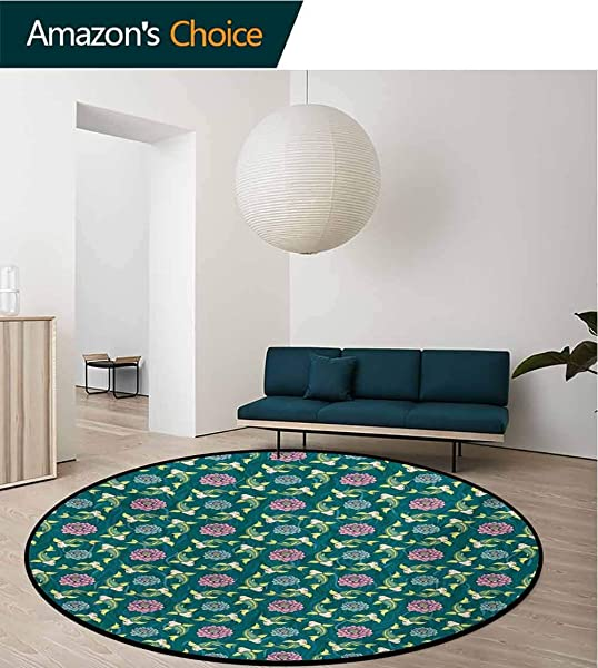 RUGSMAT Fish Small Round Rug Carpet Asian Traditional Carp Koi Lily Pattern Japanese Traditional Motifs Marine Door Mat Indoors Bathroom Mats Non Slip Diameter 71 Inch Teal Coral Pale Green