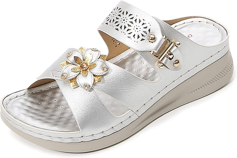 SaraIris Women's Wedge Sandals Summer Open Toe Slip-on Flat Plat