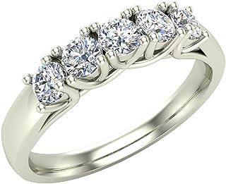 Fede nuziale con diamanti anelli 5 regali di anniversario di pietra per lei-donne stile traliccio 0,50 ct t.w (G, I1)