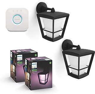 Philips Hue Econic Smart Outdoor White & Color Wall Lantern, Down (Smart Light Compatible with Alexa, Apple Homekit & Google Assistant) (2-Pack) + Philips Hue Hub Smart Bridge