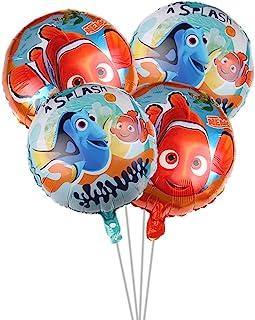 4 قطع من لوازم الحفلات بالون فايندنج نيمو فايندنج نيمو، لوازم حفلات أعياد الميلاد بالون كبير من الألومنيوم مقاس 18 بوصة
